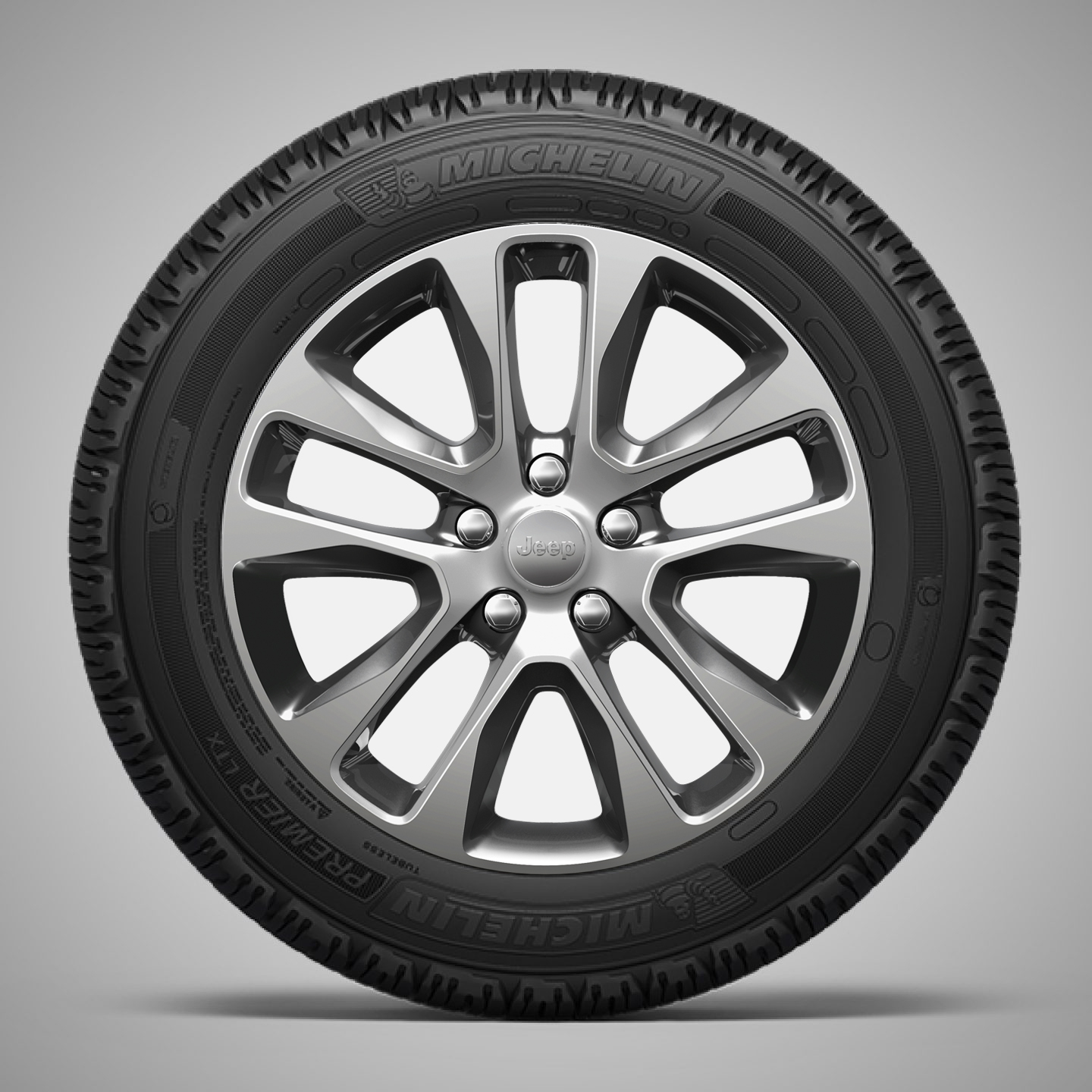 18-Inch Polished Aluminum Wheels with Technical Gray Painted Pockets and Center Caps